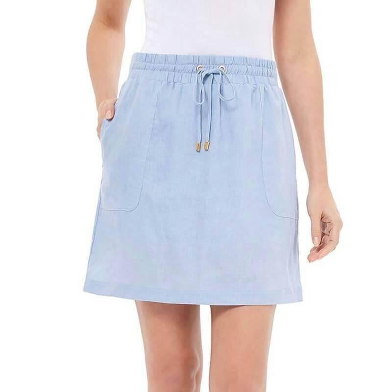 ( ไซส์ XL เอว 38-40 ) กระโปรงกางเกง สีฟ้า ยี่ห้อ company มีโบว์เอว น่ารักมากๆคะ