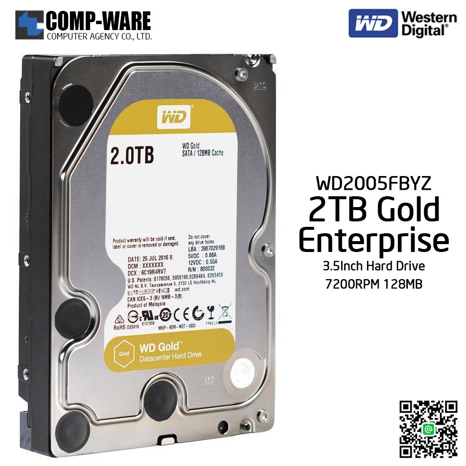 WD Gold 2TB Enterprise Class Hard Drive 7200RPM SATA 6Gb/s 128MB Cache 3.5Inch - WD2005FBYZ