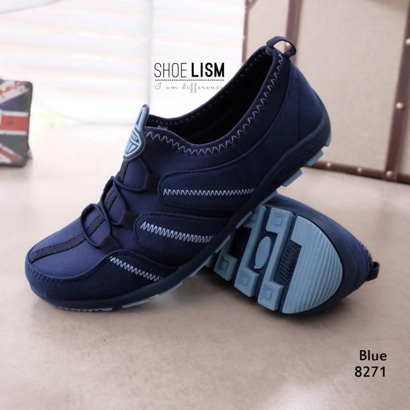 รองเท้าผ้าใบยางยืด ผ้ายืดเงา เบาสบาย8271-น้ำเงิน BLUE