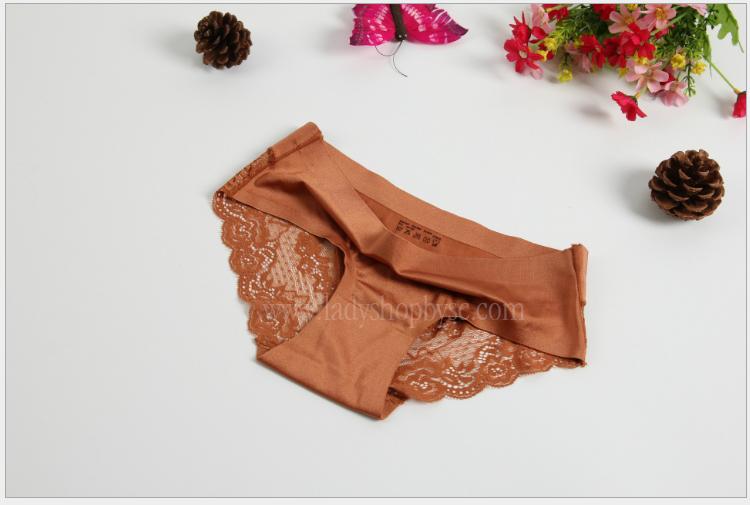 กางเกงในไร้ขอบซีทรูขอบขา สีน้ำตาล