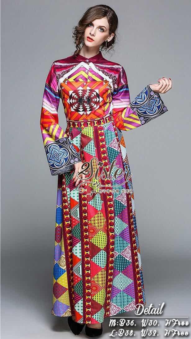 แม็กซี่เดรสแขนยาว สวยหรูผู้ดีสไตล์แบรนด์ดัง เนื้อผ้าผสมsilkใส่สบาย พิมพ์ลายสีสันสดใส ดี