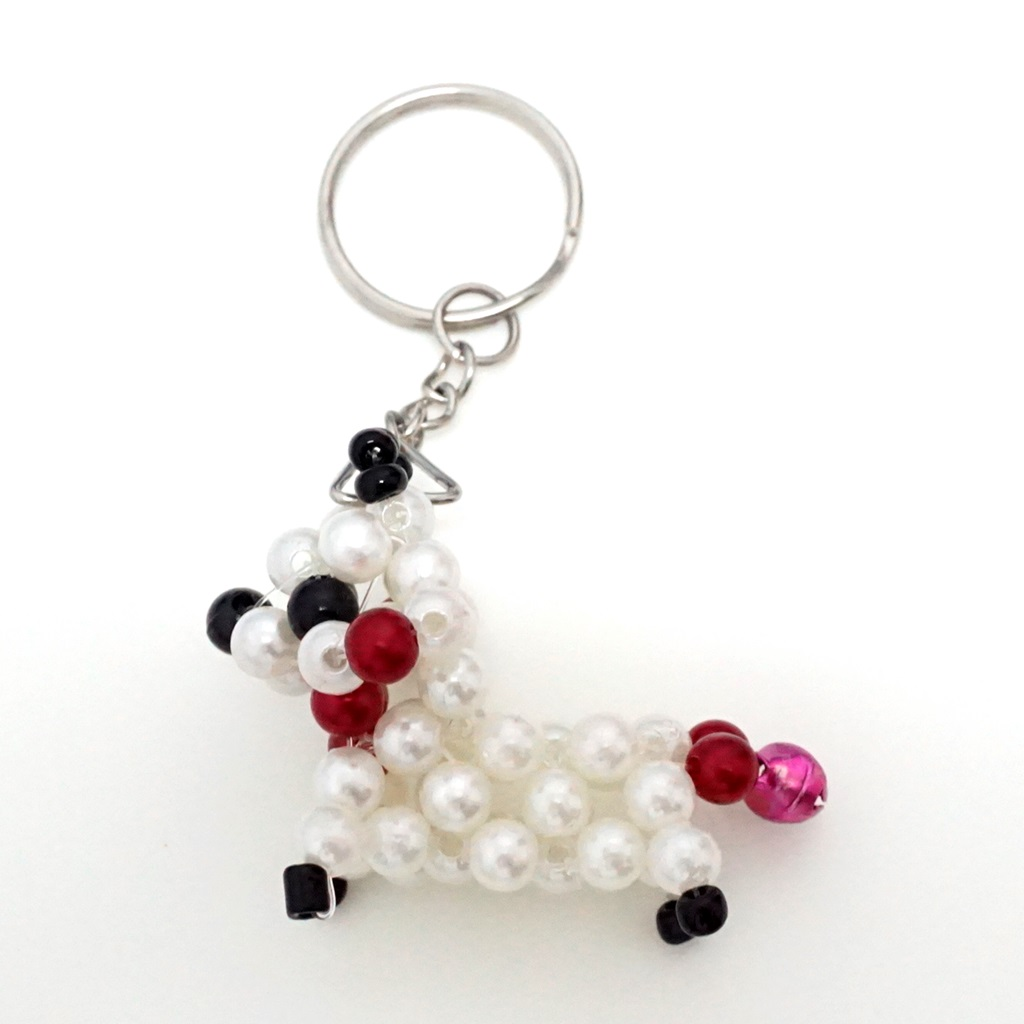 พวงกุญแจลูกปัด หมาน้อย(สีขาว) 12อัน