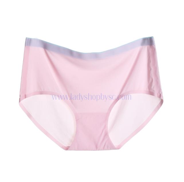 กางเกงในไร้ขอบแถบสี ขอบเรียบ สีชมพู