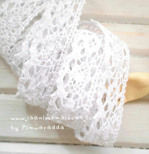 ลูกไม้สีขาว กว้าง 2 cm- จำนวน 1 m