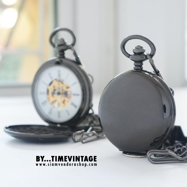 นาฬิกาพกไขลานสีดำเงาฝาทึบ ดีไซด์ Solid Gun Case Gold รุ่นเปิด 2 ด้านฝาหน้า-ฝาหลัง