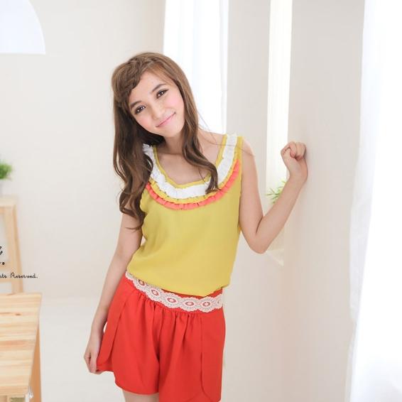 [Preorder] เสื้อแฟชั่นแขนกุดสีเหลือง 2012 new summer special the colorful color sense level lotus leaf trim vest