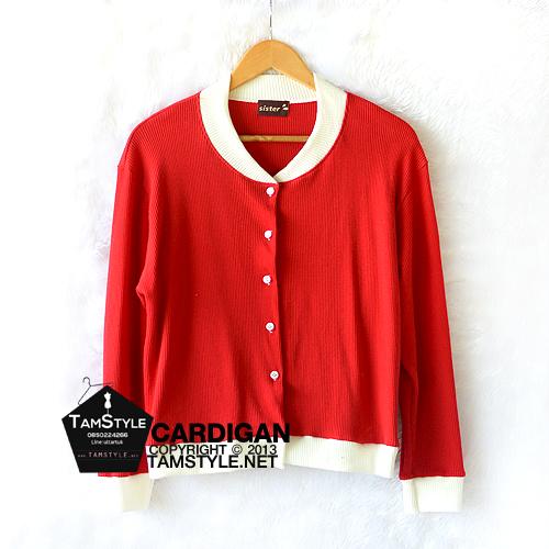 Coat-220 เสื้อคลุมแฟชั่นสีแดงแต่ง คอและขอบแขนสีขาว อก 38 นิ้วยาว 23 นิ้ว (สินค้าพร้อมส่ง)
