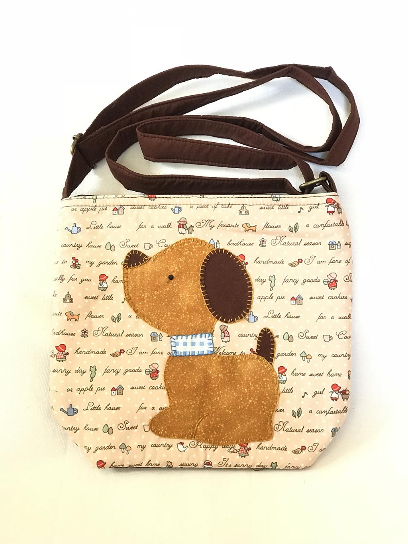 ** พร้อมส่งค่ะ ** กระเป๋าสะพายข้าง ลายหมาน้อย สีน้ำตาล