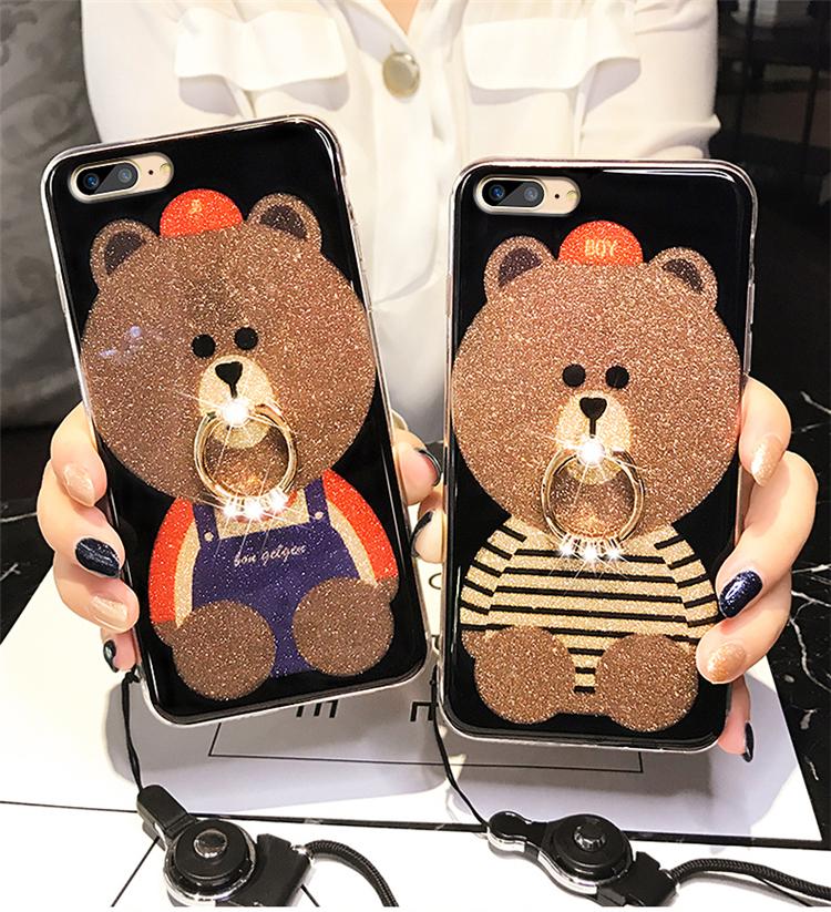 (025-571)เคสมือถือไอโฟน Case iPhone7 Plus/iPhone8 Plus เคสนิ่มลายหมี พร้อมสายคล้องคอแบบถอดแยกได้