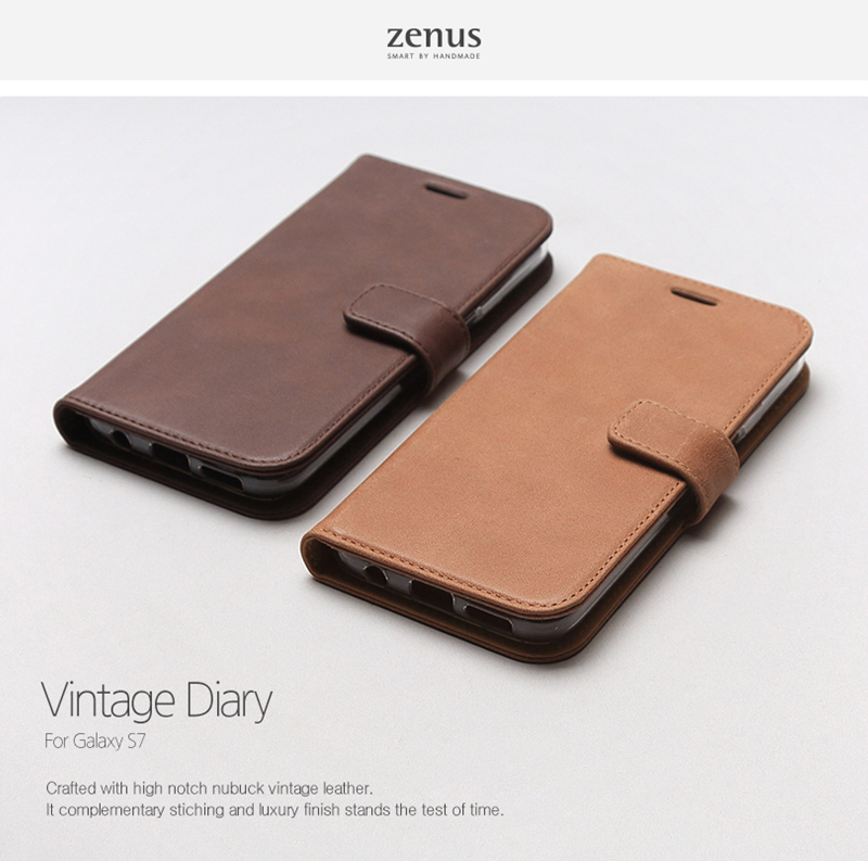 Zenus : Vintage Genuine Nubuck Leather Card Diary Cover Case For Galaxy S7