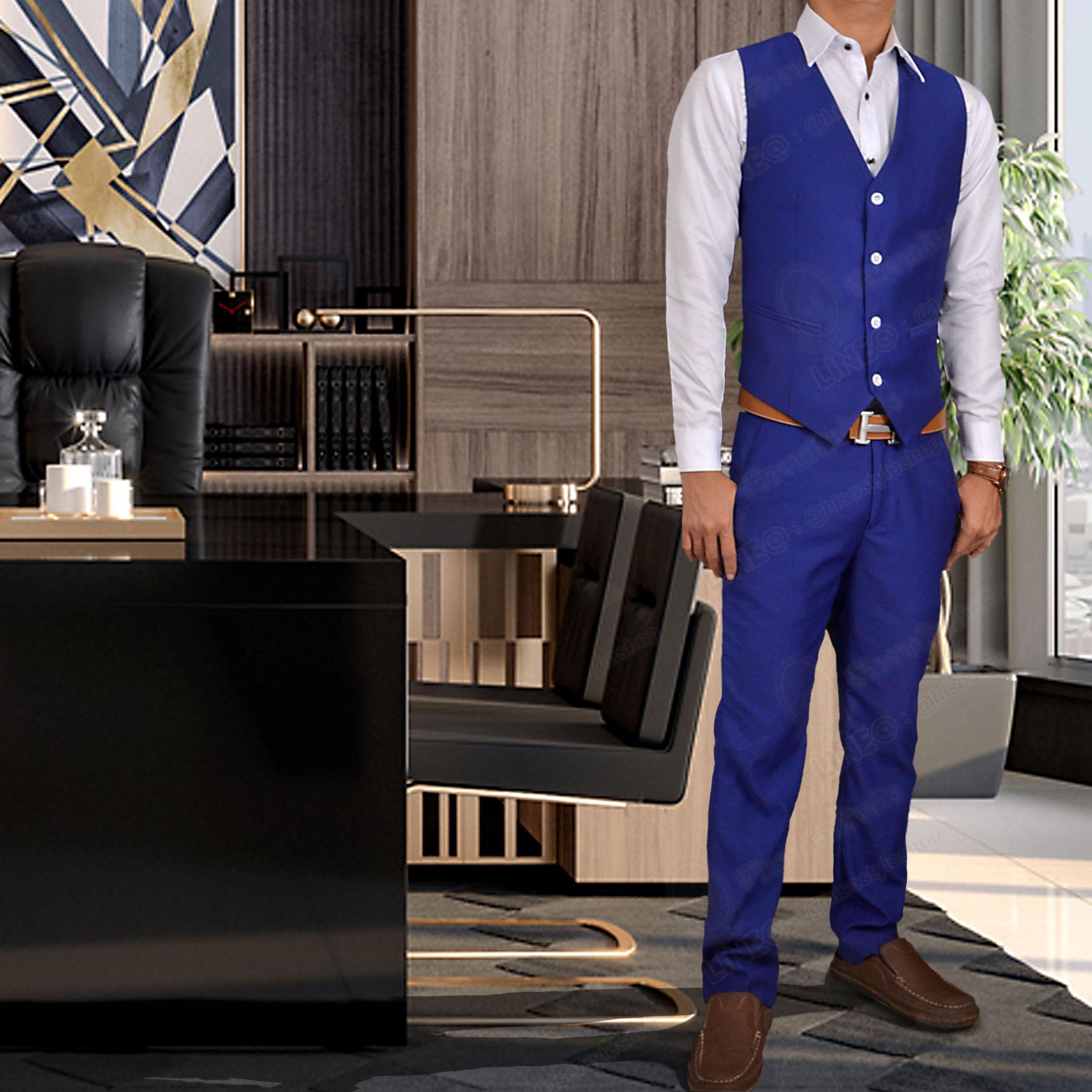 กางเกง + กั๊ก สีน้ำเงินเข้ม พร้อมส่ง M