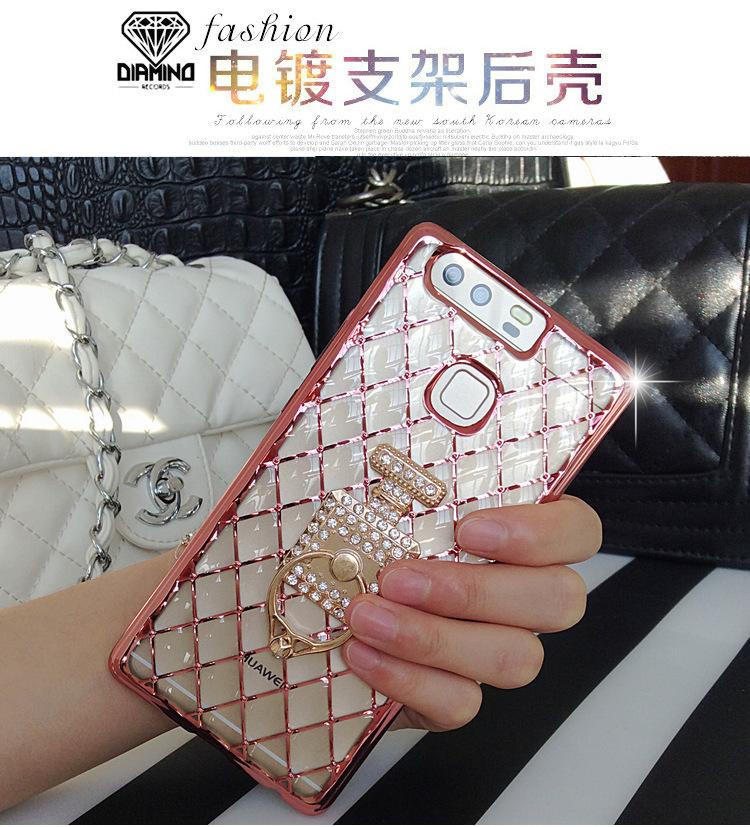 (442-027)เคสมือถือ Case Huawei P9 Plus เคสนิ่มใสขอบชุบแววลายโมเสคแก้ว