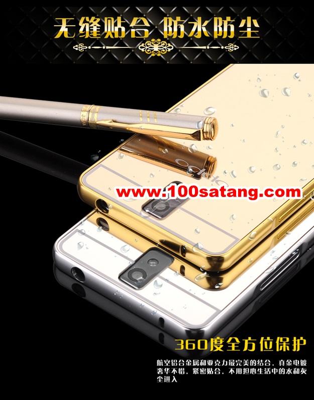 (025-159)เคสมือถือ Case OPPO R3 เคสกรอบโลหะพื้นหลังอะคริลิคเคลือบเงาทองคำ 24K