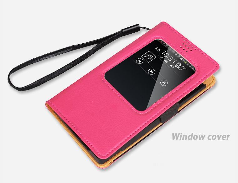 Unique Practical Velcro-Type Real Wallet & Window Viewer Flip Case Cover For Galaxy Note 4