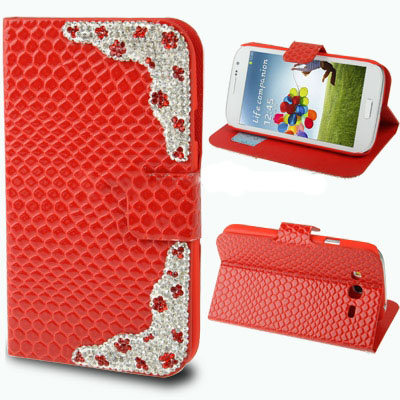 Case เคส Luxury Diamond Encrusted Snakeskin Samsung Galaxy Grand Duos (i9082)(Red)