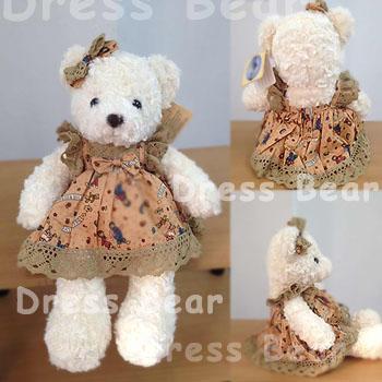ตุ๊กตาหมีเสื้อกระโปรงลายการ์ตูนชายดอก teddybear cartoon brown dress ขนาด 35 cm