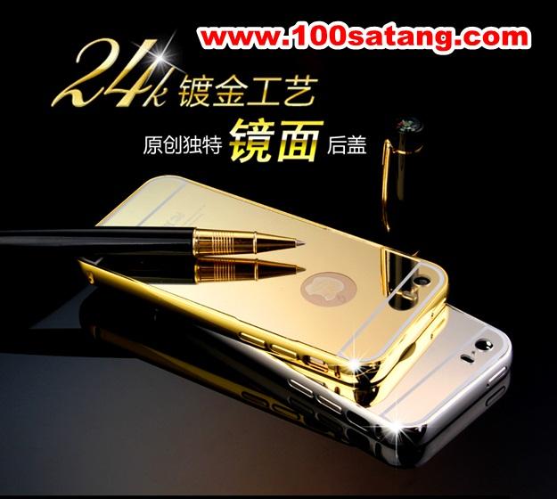 (025-162)เคสมือถือไอโฟน case iphone 5/5s เคสกรอบโลหะพื้นหลังอะคริลิคเคลือบเงาทองคำ 24K