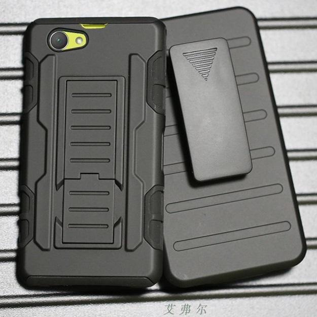 (002-127)เคสมือถือโซนี่ Case Sony Xperia Z1 Compact เคสนิ่ม+พื้นหลังประกบแบบพลาสติก+มีขาตั้ง+ที่เหน็บเอวสไตล์กันกระแทก