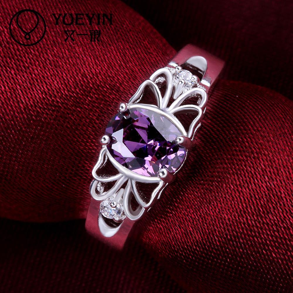 R886 แแหวนเพชรCZ ตัวเรือนเคลือบเงิน 925 หัวแหวนเพชรczสีม่วง ขนาดแหวนเบอร์ 8