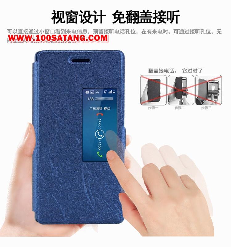 (005-053)เคสมือถือ Case Huawei P7 เคสพลาสติกสมุดเปิดข้างฝาพับ PU ลายผ้าไหมโชว์หน้าจอ