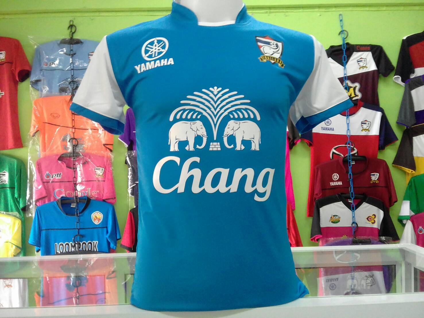 เสื้อกีฬาเกรด Aไทยสีฟ้า-ขาว