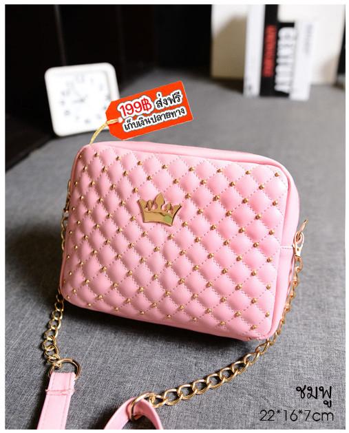 B26 กระเป๋าหน้าหมุด สีชมพู