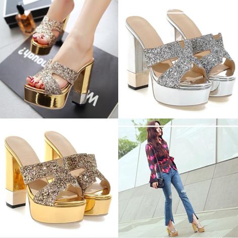 รองเท้าส้นสูง ไซต์ 34-43 สีดำ/เงิน/ทอง