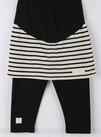 l5018 กางเกงกระโปรง สีดำ-ขาว ช่วงเอวเป็นยางยืดจ้า สีดำ