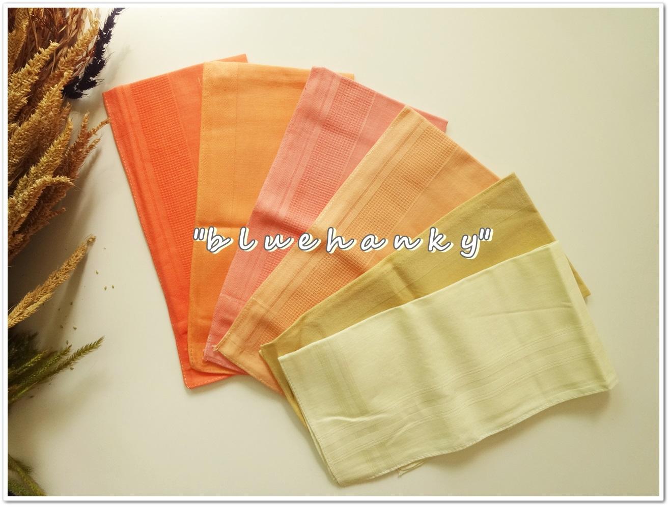 ผ้าเช็ดหน้าสีพื้นโทนสีเหลืองส้มเหลือง 6 ผืน