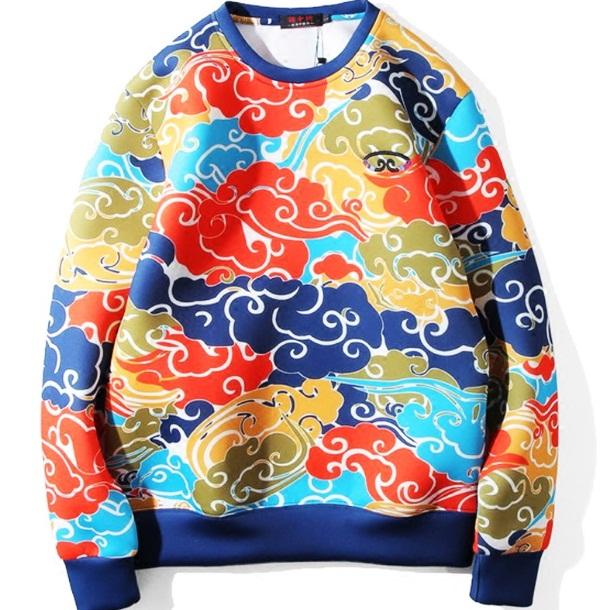 *Pre Order*Jinzhong embroidery เสื้อยืดแขนยาวพิมพ์ลายทั้งตัวญี่ปุ่น size M-2XL