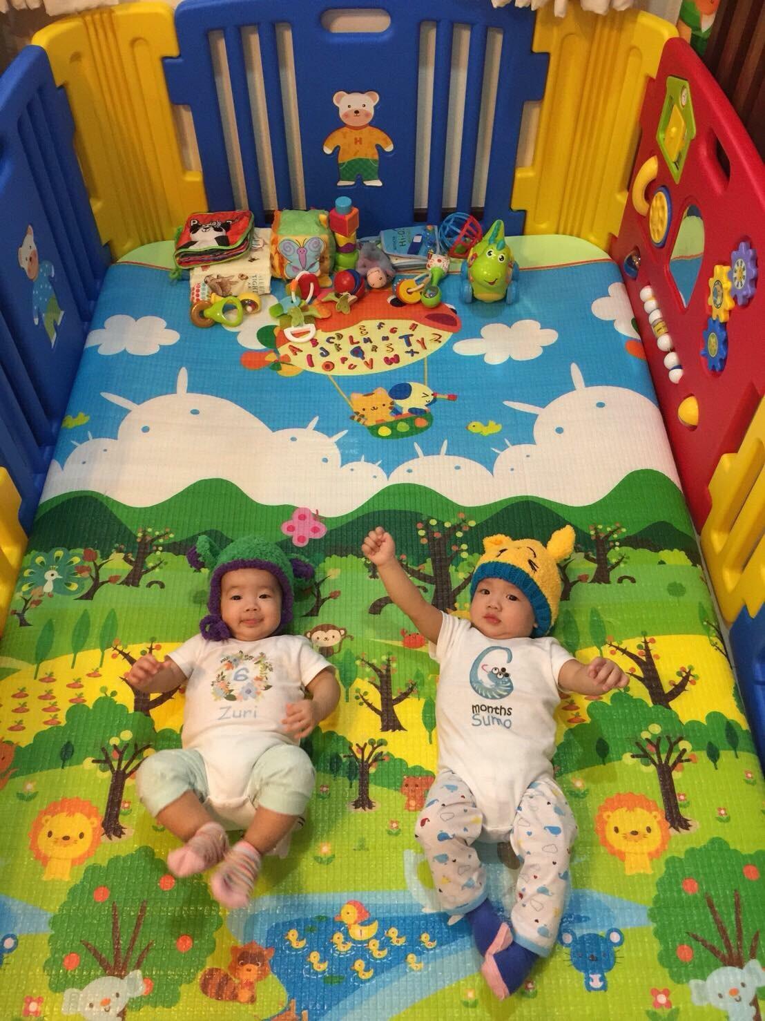 ขอบคุณรีวิวจากน้อง Zuri&Sumo นะคะ คอกกั้นเด็กแท้ สีสดใส size M
