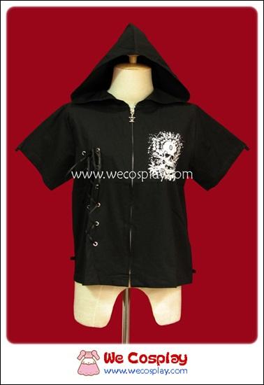 เสื้อเชิ้ตพังค์ Punk Shirt มีฮู้ด สีดำ แขนสั้น สกรีนลายปีกปิศาจ