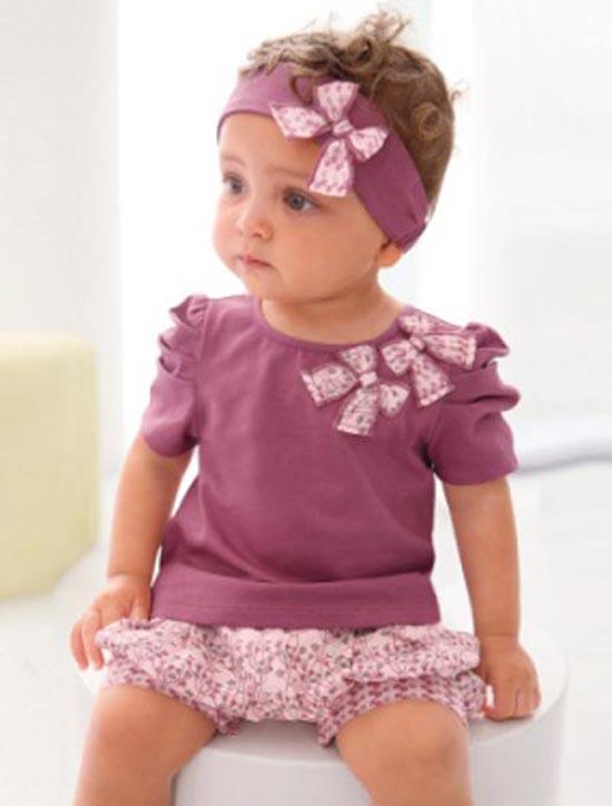 ชุดสาวน้อยสีชมพูม่วงพร้อมผ้าคาดผมลายโบว์