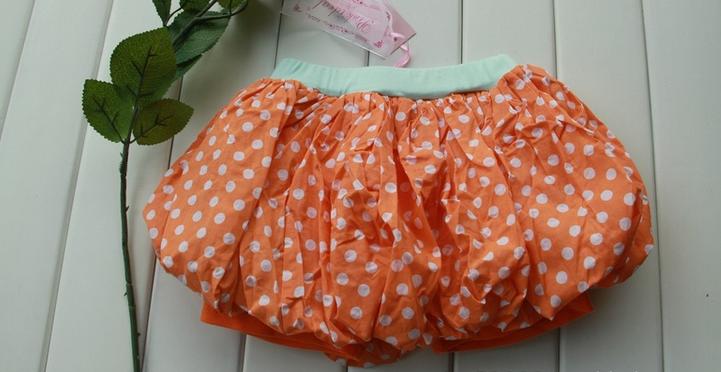 กางเกงกระโปรงหน้าร้อน ลายจุด สีส้ม ไซด์ 5,7,9,11,13