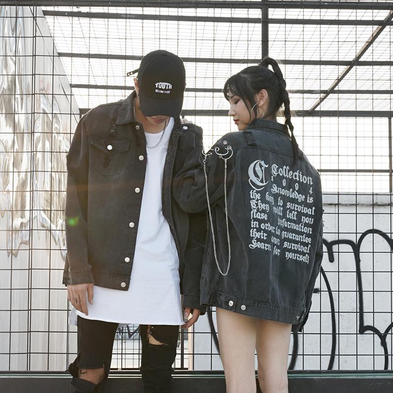 *Pre Order*Denim Jacket hip-hop แฟชั่นญี่ปุ่นชาย/หญิง size M-2XL