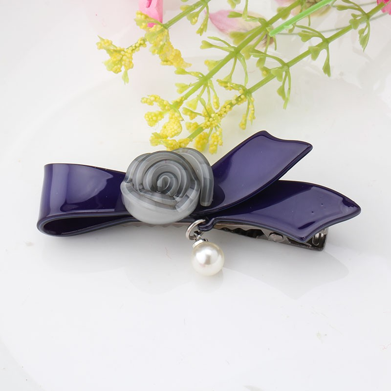 กิ๊บดอกไม้โบว์สีน้ำเงิน