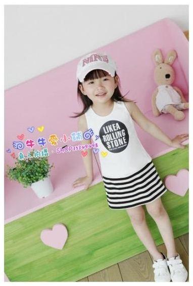 ชุดเดรส เด็กสีขาว สกีน Like a Rolling Stone กระโปรงลายริ้วสีขาว-ดำ สไตล์เด็กเกาหลี น่ารัก ขนาด13