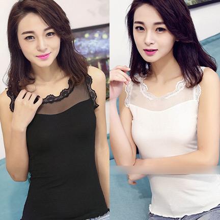 WG063 เสื้อกล้าม เสื้อซับในเต็มตัว ด้านบนเป็นผ้าซีทรู ช่วงคอและแขนเสื้อประดับด้วยผ้าลายลูกไม้ สวยหวาน มี 2 สี สีขาว สีดำ