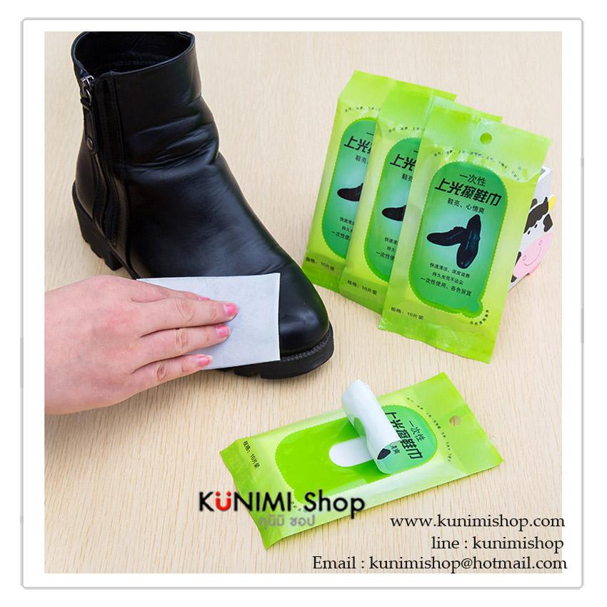 กระดาษเช็ดทำความสะอาดรองเท้าหนัง ชุบน้ำยาทำความสะอาบ 1 แพ็ค มี 10 ชิ้น พกพาไปในที่ต่างๆสะดวก