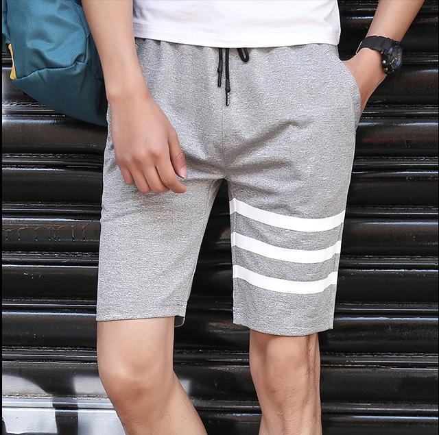 กางเกงขาสั้นแฟชั่นเกาหลี ลายทาง : สีเทา