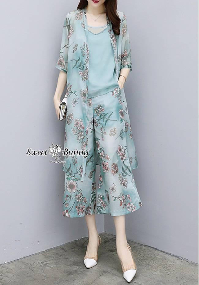 ชุดเซทแฟชั่น ชุดเซ็ทเสื้อคลุมยาว+เสื้อใน+กางเกง (set 3 ชิ้น)