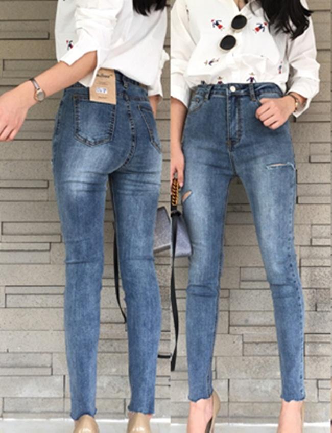 กางเกงแฟชั่น กางเกงยีนส์สไตล์ Korea แต่งขาดสะกิดเก๋สุดๆ