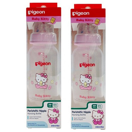 Pigeon พีเจ้น ขวดนม Baby Kitty เบบี้คิตตี้ สีชมพู ขนาด 8 ออนซ์ พร้อมจุกเสมือนให้นมมารดา Size M