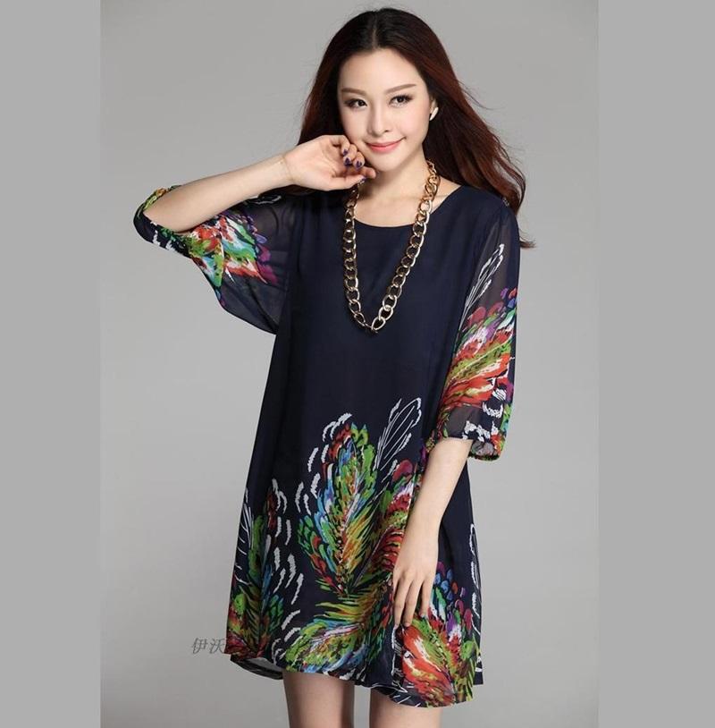 (Pre-Order) เดรสผ้าชีฟอง แขนสั้น มีซับใน พิมพ์ลายขนนกยูงโทนสีน้ำเงิน แฟชั่นสไตล์เกาหลี ปี 2015