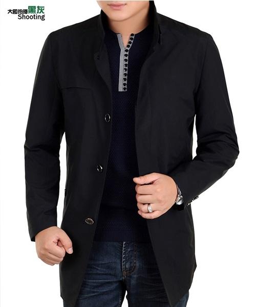 Pre-Order เสื้อเจ็คเก็ตผู้ชาย ผ้าฝ้ายผสม แฟชั่นเสื้อทำงาน เสื้อแจ็คเก็ตลำลอง เสื้อผ้าผู้ชายระดับไฮคลาส สีน้ำเงิน