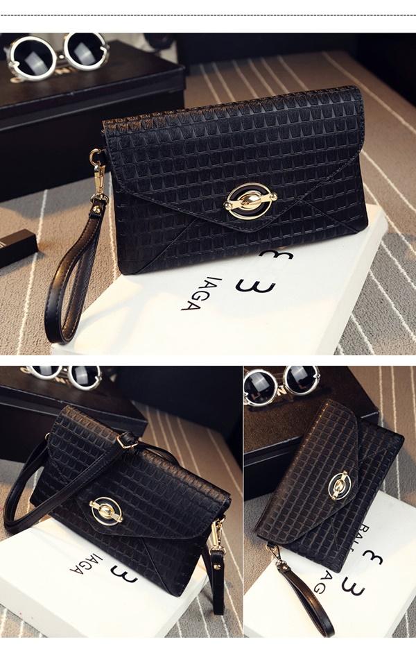 Pre-Order กระเป๋าคลัทช์ปั๊มลายตารางเนื้อมันเป็นเงา สีดำ กระเป๋าแฟชั่นผู้หญิง เปลี่ยนเป็นกระเป๋าถือออกงานหรูได้ หรือใช้เป็นกระเป๋าสะพายไหล่ได้