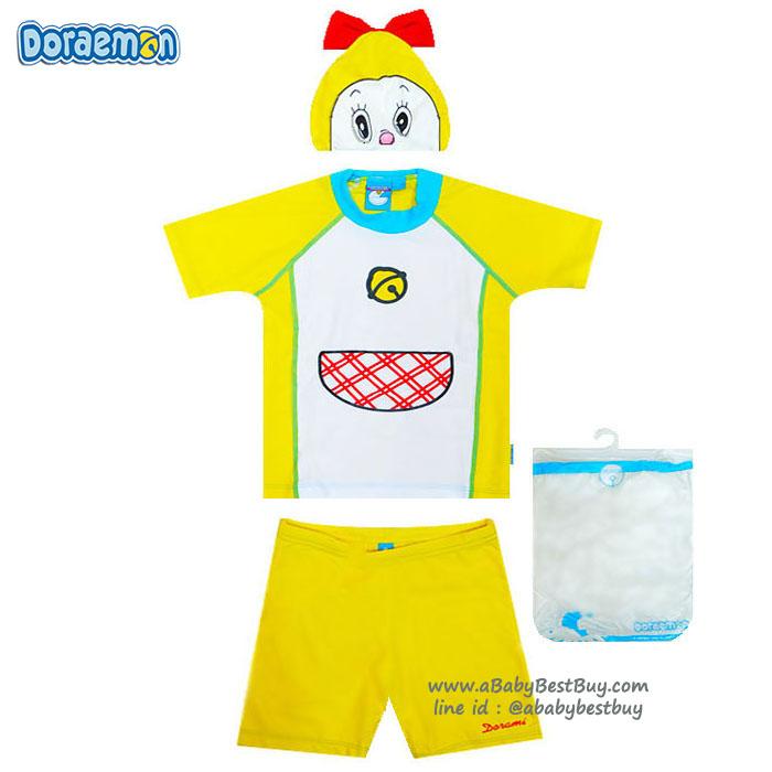 """ฮ Size S - ชุดว่ายน้ำเด็กผู้หญิง """" โดเรมี่ จัง """" Doremi มาพร้อมกับเสื้อแขนสั้น กางเกงขาสั้น มาพร้อมหมวกว่ายน้ำและถุงผ้า สุดน่ารัก ใส่สบาย ลิขสิทธิ์แท้ (สำหรับเด็กอายุ 3-4 ปี)"""