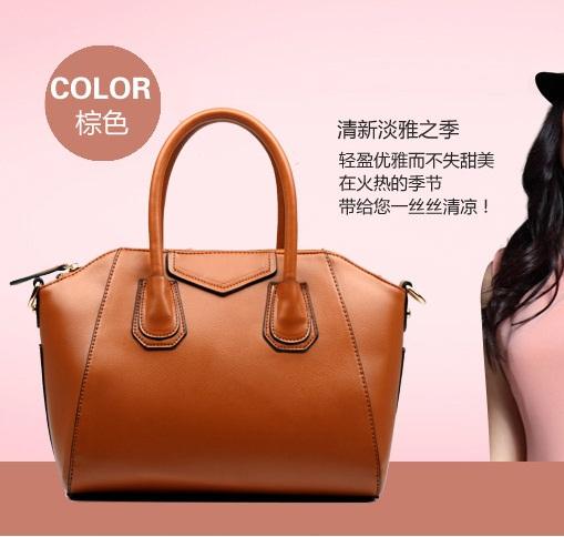 (Pre-order) กระเป๋าหนังแท้ กระเป๋าสะพายผู้หญิง หนังเรียบ แบบคลาสสิค สไตล์ยุโรป อเมริกา สีน้ำตาล