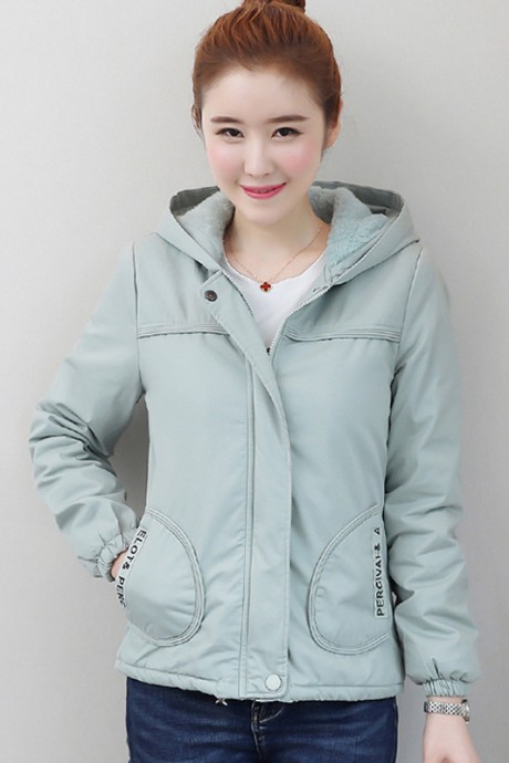 (พร้อมส่ง) เสื้อกันหนาวแฟชั่น เสื้อกันหนาวเกาหลี สีฟ้า แขนยาว แต่งจั๊มปลายแขน ซับในบุด้วยผ้าขนสัตว์นุ่มๆ มีฮูทสุดเก๋ แบบซิบรูด กระเป๋า 2 ข้างใช้งานได้