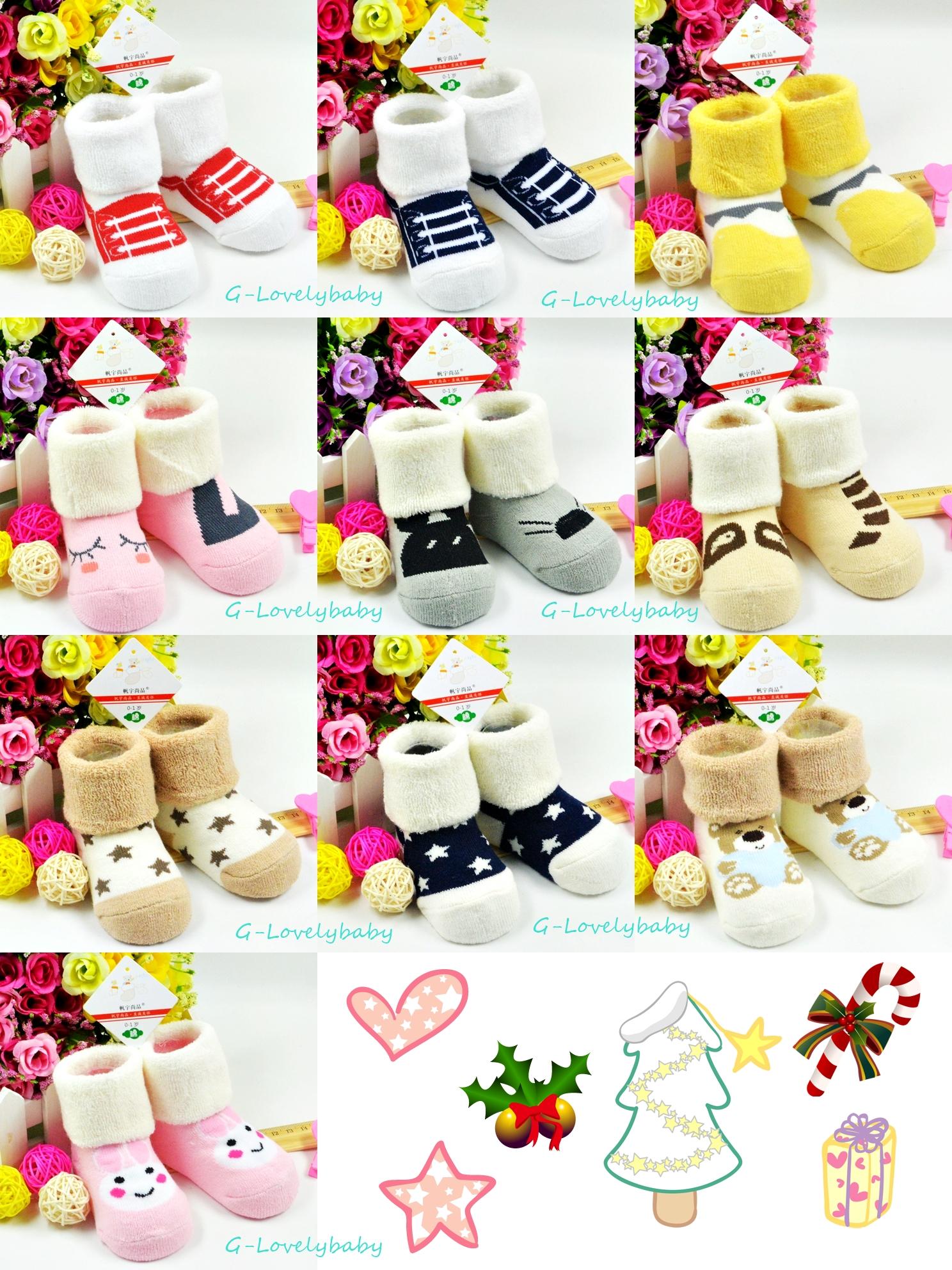ถุงเท้าเด็ก ถุงเท้าเด็กเล็ก สวมใส่กันหนาว สินค้าเกาหลี ผ้าเทอรี่หนานุ่ม ลายการ์ตูนน่ารัก